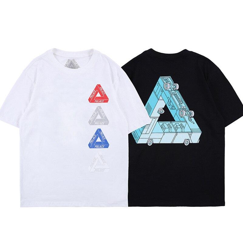 Palacio Life2019 Europa y América Popular marca de verano nuevo estilo ropa de hombre contraste Color impreso letra cuello redondo