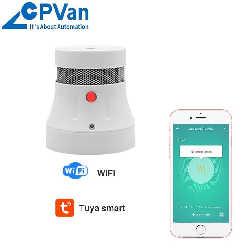 Detector de humo CPVan WiFi Tuya APP Control de alarma de incendio Detector sensible para la seguridad del hogar Detector Sensor de protección contra incendios