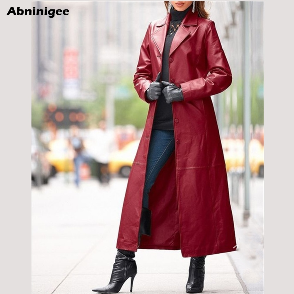 Coat Woman Long Leather Jacket Plus Size Autumn Casual Loose Button Coats Women Neck Leather Jacket Coat Jackets For Windproof enlarge