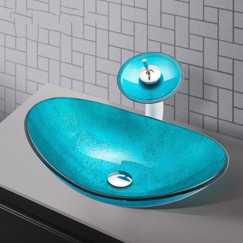 Lavabo Plus, grifo de lavabo blindado de vidrio azul, grifo de lavabo Vintage, grifo mezclador frío caliente conjunto de grúa