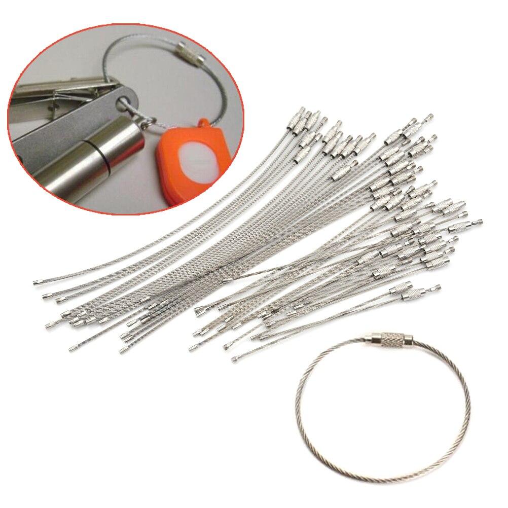 10 pces 1.5/2mm chaveiro tag corda fio de aço inoxidável cabo laço parafuso bloqueio gadget anel chave círculo acampamento pendurado ferramenta nova