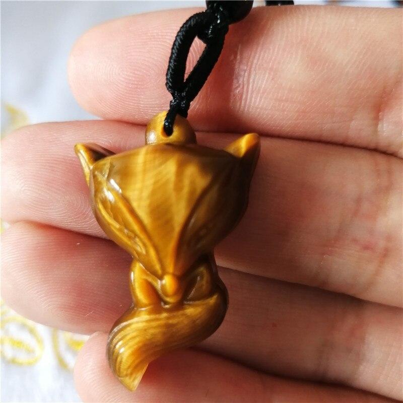 Colgante de cristal natural amarillo Ojo de Tigre piedra pequeño zorro colgante...