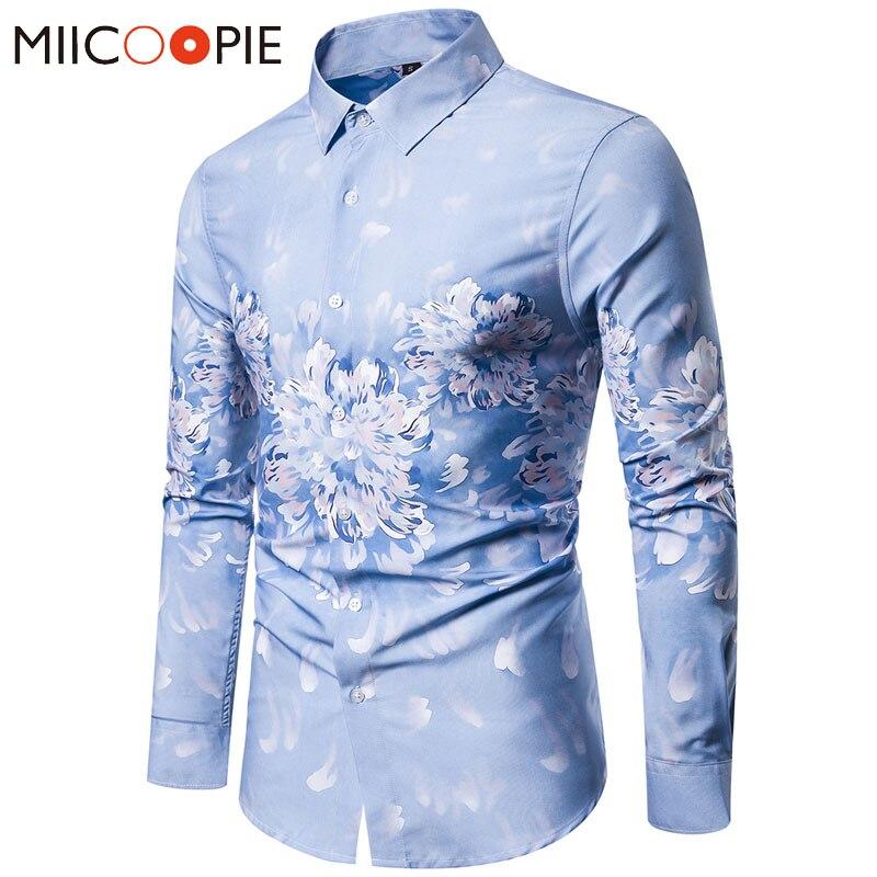 Camisa Floral con estampado 3D Vintage para hombre, Blusa de manga larga, camisas para hombre, Casual, ajustadas, blusas azules, Camisa Social Masculina XXL