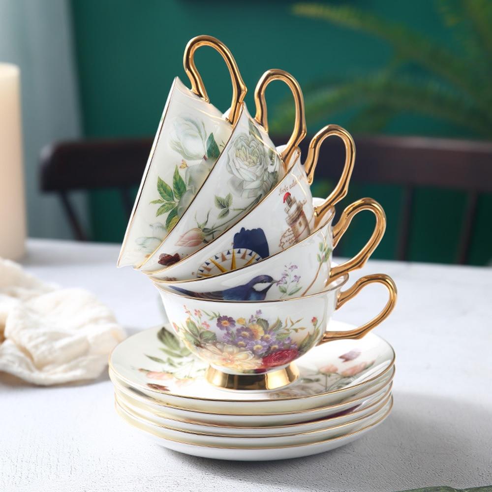 السيراميك فنجان القهوة الصحون دعوى رسمت الخزف فنجان شاي وملعقة الأصالة الشاي الأسود فنجان الشاي بعد الظهر أكواب قهوة بالحليب