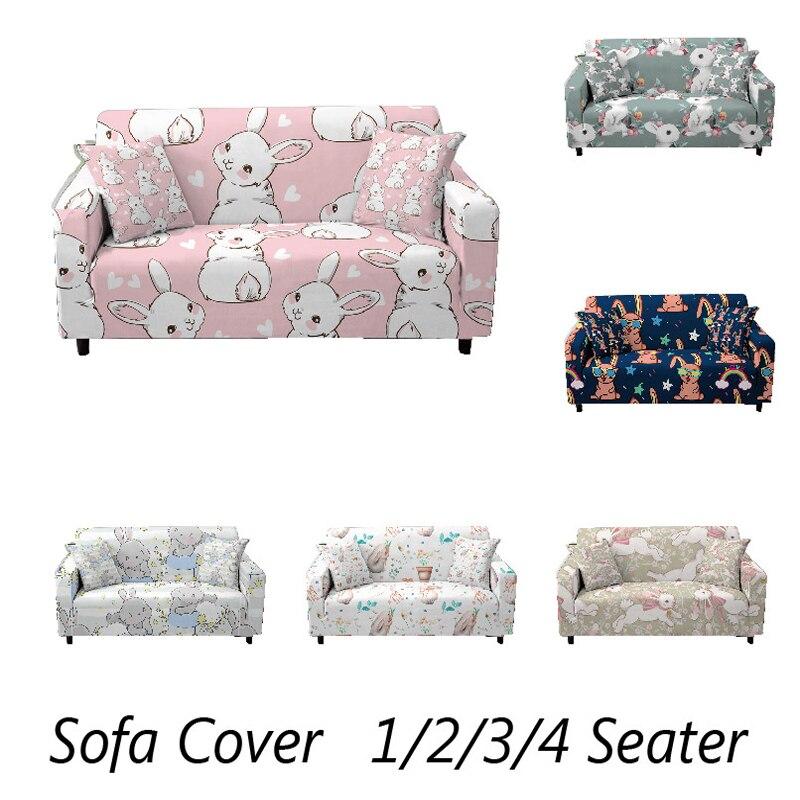 Эластичный чехол для дивана в виде кроликов, эластичный чехол для угловой кушетки в гостиную, защита от грязи