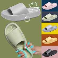 TELOTUNY Unisex Quick-drying Slippers Summer Men Women Thickened Wedge Couple Family Home Indoor Sho