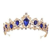 Corona barroca cristal nupcial Tiaras corona Vintage oro accesorios para el cabello boda Rhinestone diadema concurso coronas
