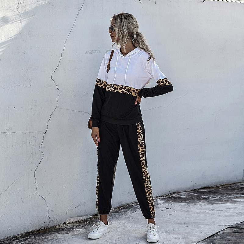 2021 spring and autumn new European and American leopard print sports stitching suit women's casual two-piece fashion
