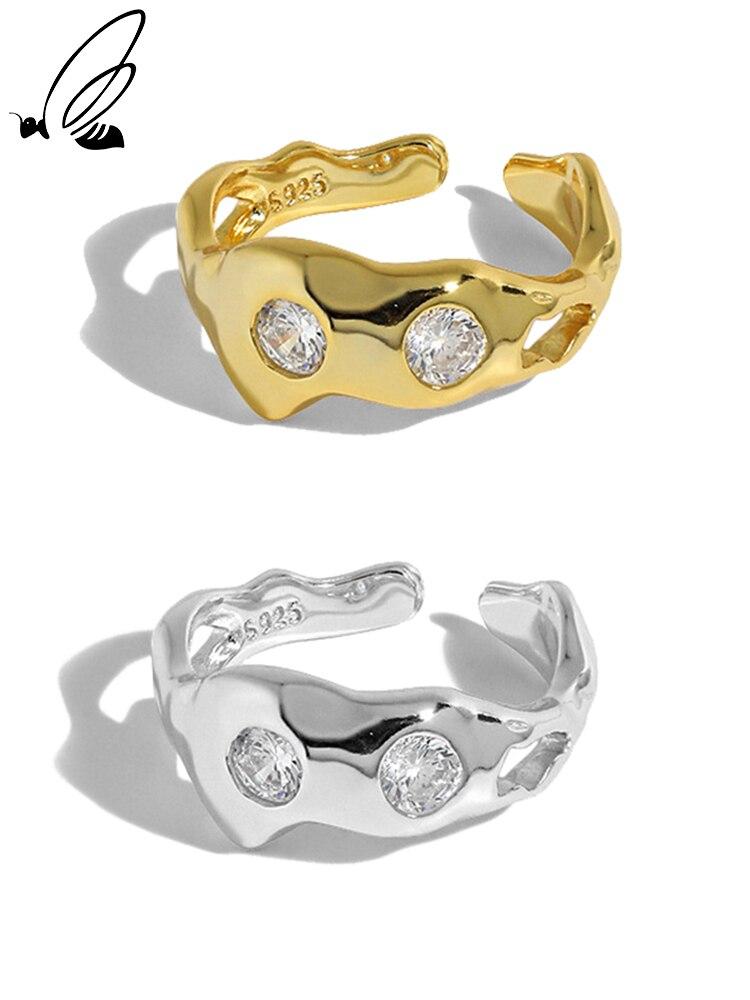 Серебряное-кольцо-с-инкрустированным-цирконом-в-Корейском-стиле