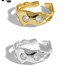 S'STEEL 925 Sterling Silver Ring Korean Design Simple Gift For Women Inlaid Zircon Gold Rings Textur