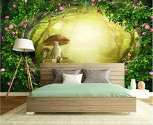 Misty Forest Flower Mural seta empapelado arte Papel De pared Papel De Parede 3d foto fondos De pantalla impermeable lienzo contacto Papel