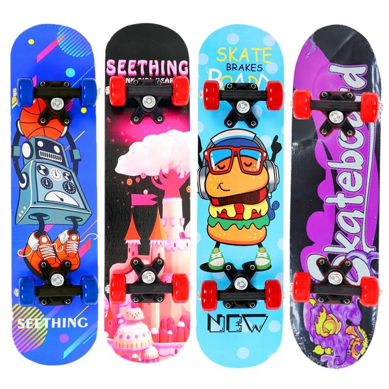 24inch Kids Children Cartoon Skateboard Maple Wood Double Rocker Deck Skate Board Four Wheels Longboard 60*15cm