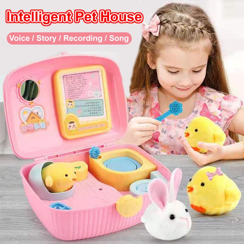 Girls play electronic pet chicken dressing music box / parent child game toy gift box set