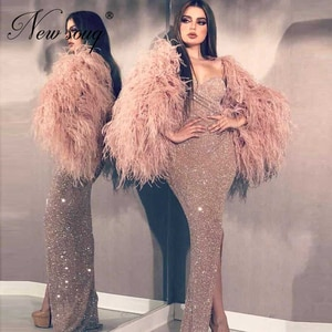 Coral Bling Formal Evening Dresses Robe De Soiree 2020 Off the Shoulder Dubai Arabic Party Night Sheath Feather Prom Dress Aibye