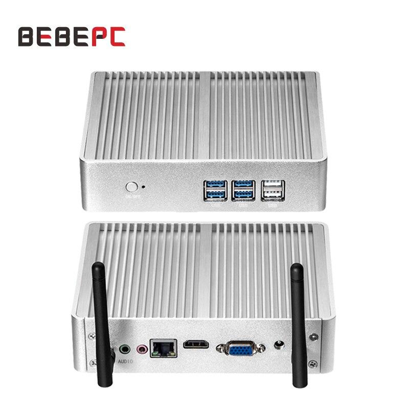 BEBEPC Fanless Mini PC Intel Core i5 4200U i3 5005U Windows 10 HD VGA Dual Display 4K HTPC Office Home Mini Computer PC Desktop