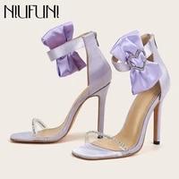 pvc transparent heart shaped rhinestone bow stiletto womens sandals open toe silk zip sexy sandals for summer high heels female