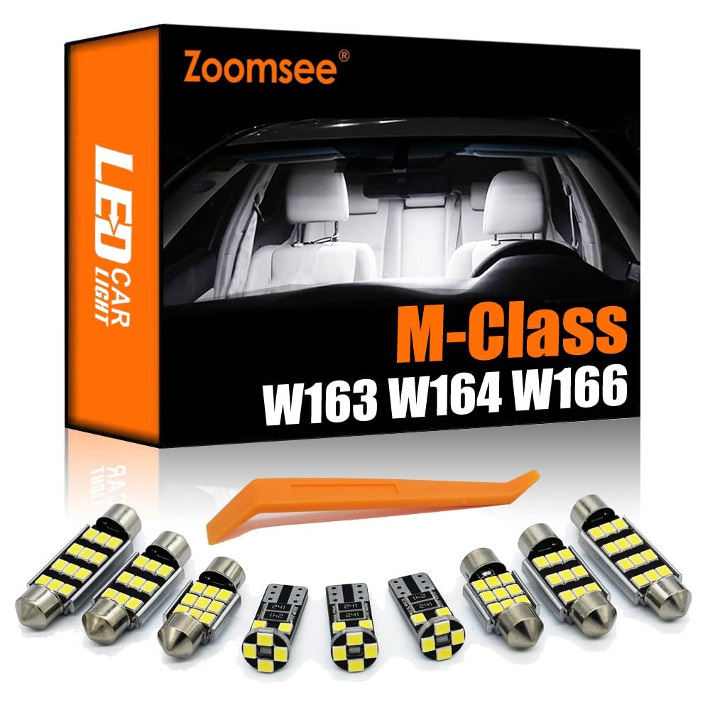 Zoomsee para mercedes benz mb m ml classe w163 w164 w166 ml350 ml320 ml500 ml400 canbus lâmpada led interior cúpula porta pé kit de luz