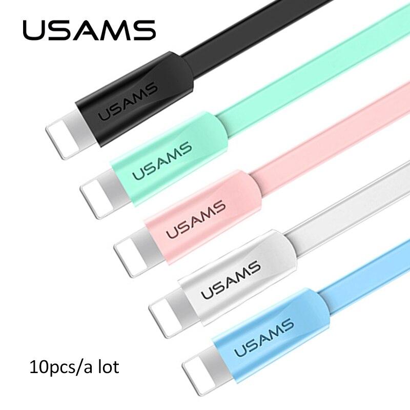 USAMS 10 قطعة/الكثير 2A سريع شحن USB كابل ل فون 12 11X8 7 6 6s 5s 5e دائم ثابت انحناء الإضاءة مزامنة بيانات كابل