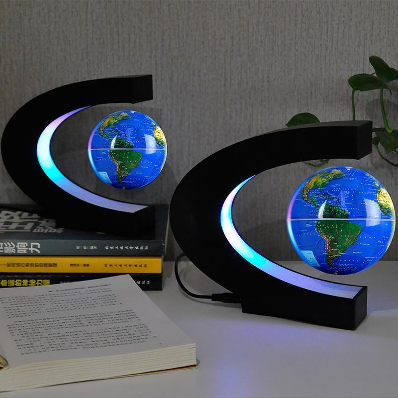 Magnetic Levitation Floating World Map Globe Rotating colored LED Light night light 3