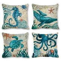 45x45cm ocean whale octopus pillowcase flax pillow case sea turtle printed cushion cases pillow cover home decor cushion covers