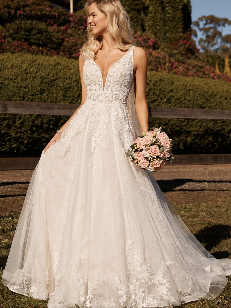 Review Custom Made Deep V-Neck Sleeveless Embroidery Appliques Tulle Bridal Ball Gown Luxury Button Back Chapel Train Wedding Dress