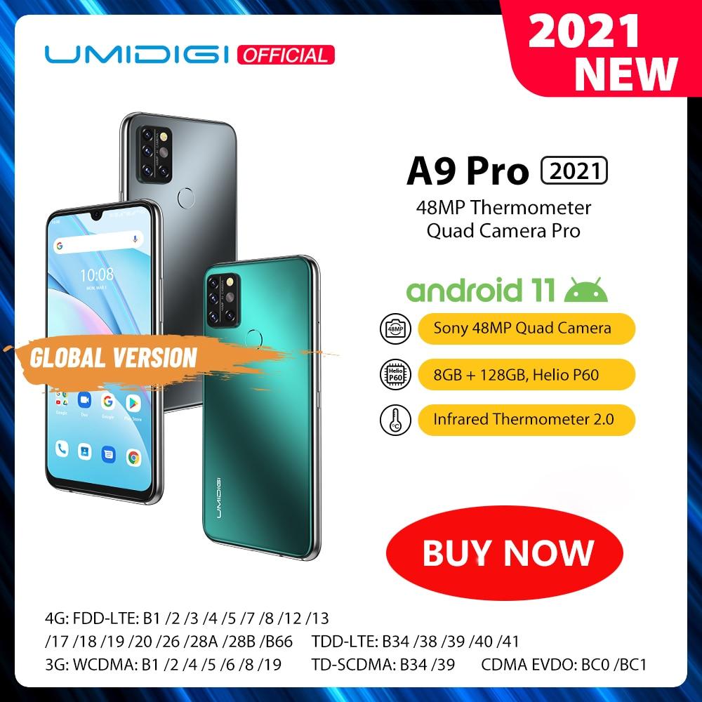 "2021 UMIDIGI A9 Pro Android 11 RAM 8GB 128GB Samrtphone 48MP AI Matrix Quad Camera Helio P60 Octa Core 6.3""FHD+ Display 4150mAh"
