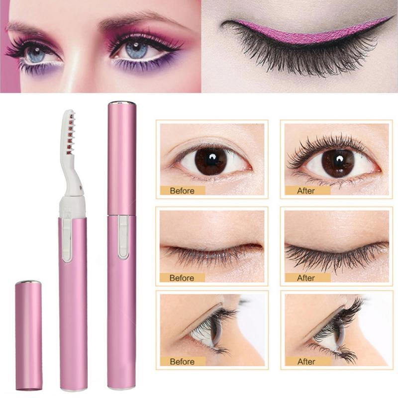 Mini Rosa eléctrico pestañas lápiz rizador perfecto gran herramientas de maquillaje de ojos ceja de larga duración pestañas pinzas
