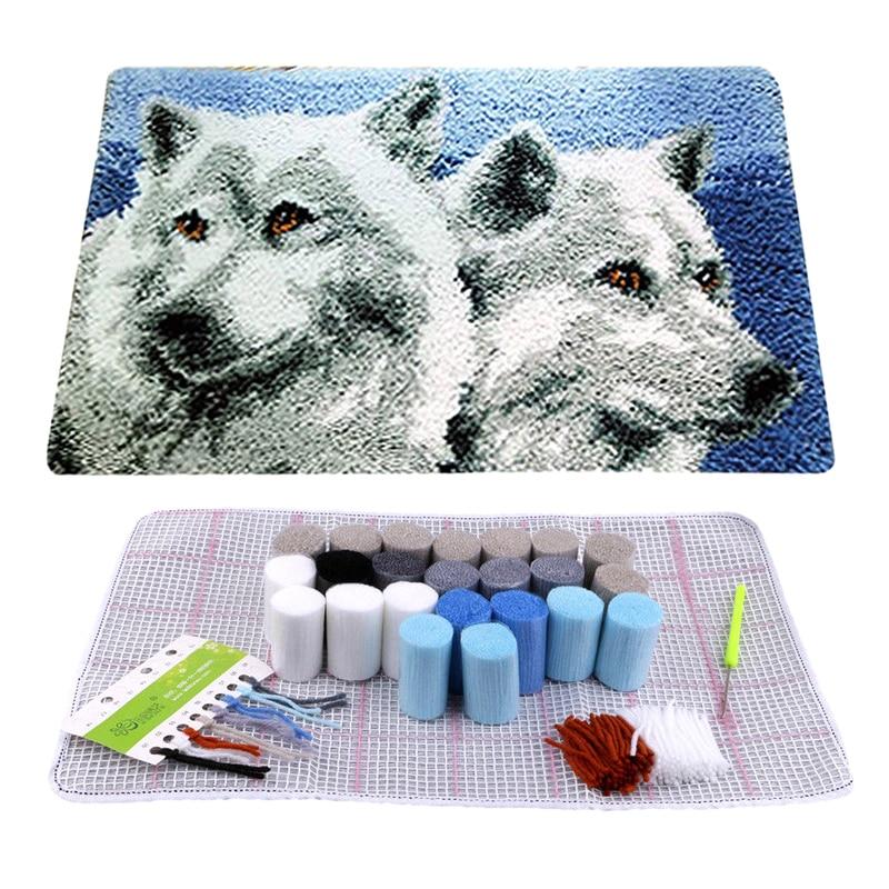Juego de aguja de lengüeta con Lobo, alfombra con diseño de lobo bordado de segmento, gancho de sujeción, accesorios para manualidades DIY de 50x30cm