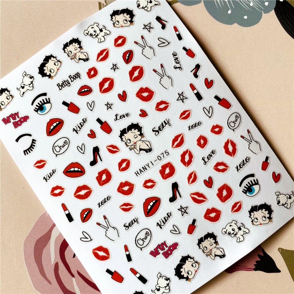HANYI-075-284 Love Kiss Red heart Red lips3D наклейка для ногтей Наклейка для ногтей украшение для ногтей инструмент для дизайна ногтей украшение для ногтей