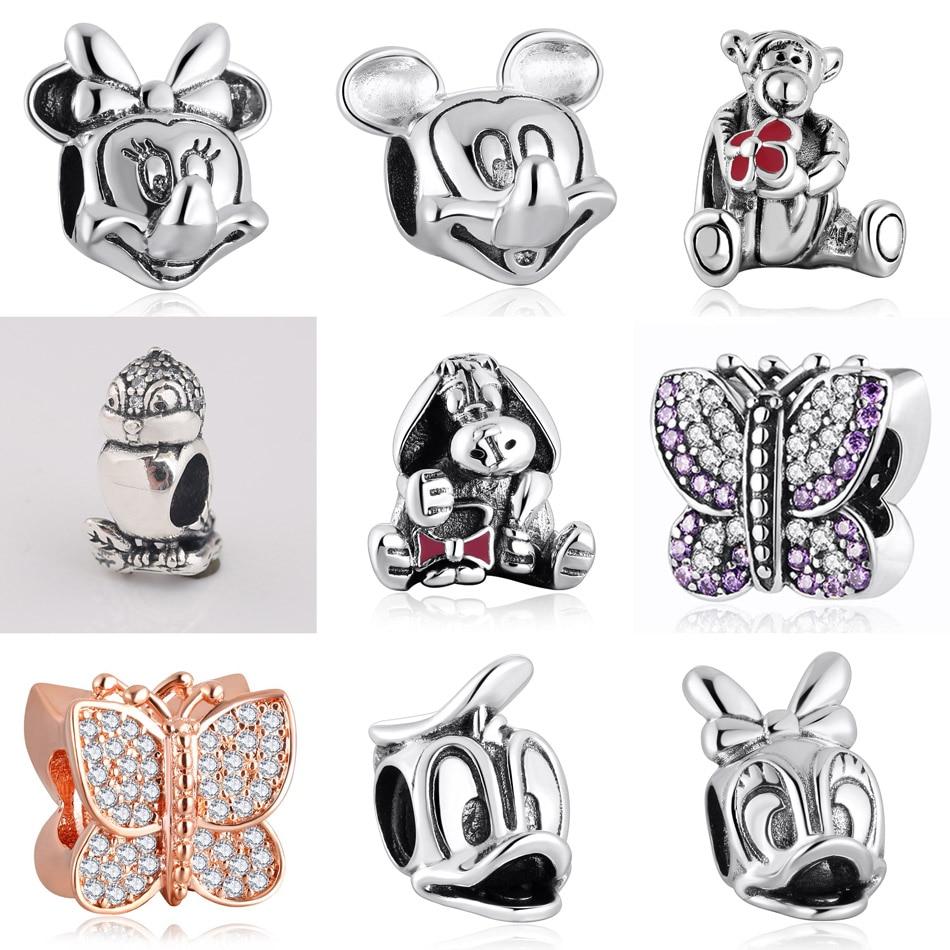 Authentic S925  DIY Jewelry Butterfly Bird Tiger Donkey Mouse Charms fit Pandora Bracelet Bangle