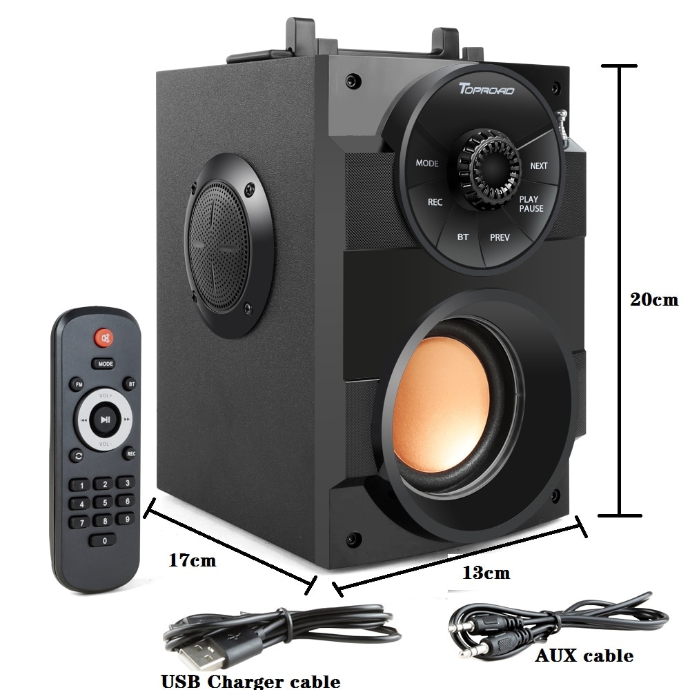 TOPROAD Bluetooth Speaker Portable Big Power Wireless Stereo Subwoofer Heavy Bass Speakers Sound Box Support FM Radio TF AUX USB enlarge