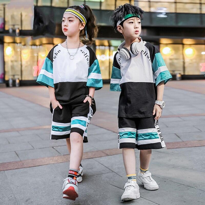 ملابس رقص هيب هوب للأطفال ، بدلات قصيرة ، أزياء أداء ، ملابس مسابقة ، ملابس مسرح YS1168