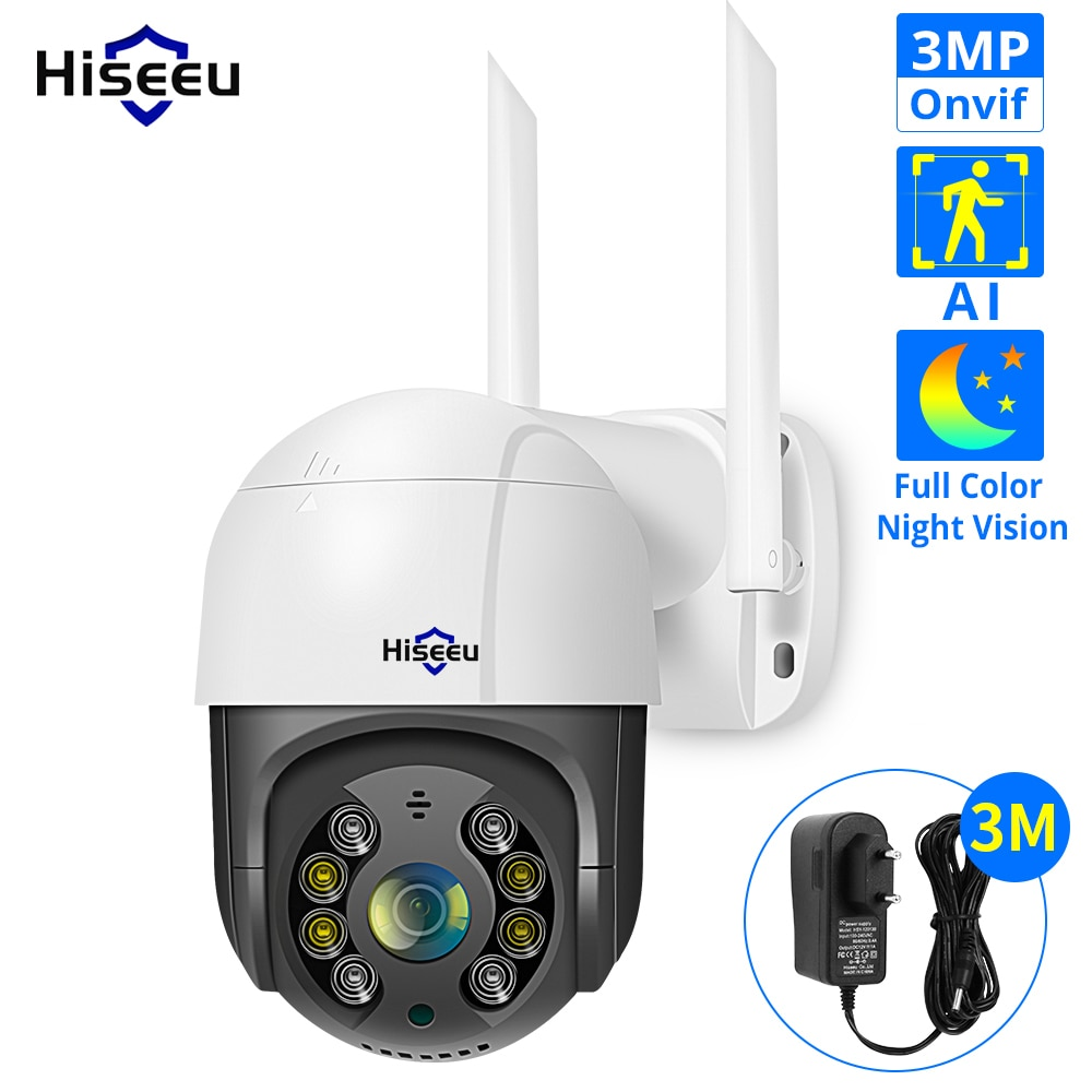 Hiseeu 1536P 1080P Speed Dome Wireless WIFI Camera 2MP 3MP Outdoor 4x Digital Zoom PTZ IP Camera Audio CCTV Surveillance Onvif