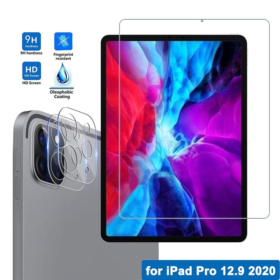 Para iPad Pro 12,9 2020, Protector de pantalla Ultra HD, película protectora para pantalla completa, lente de cámara de cristal templado para iPad Pro 12,9 2020