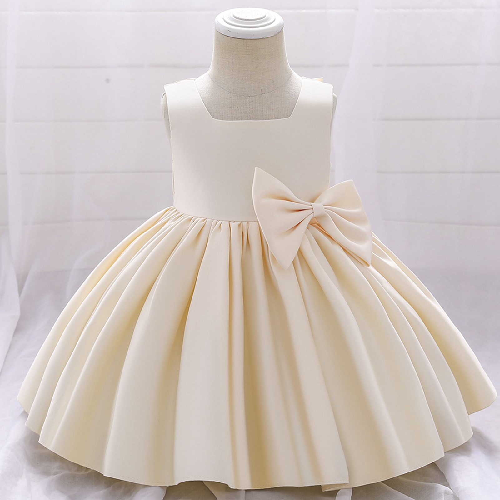 Girls Formal Wedding Gown Tutu Princess Dress Solid Color Sleeveless Square Collar Big Hem and Bow Girl Clothes For Kids Party girls bow detail cherry print dip hem dress