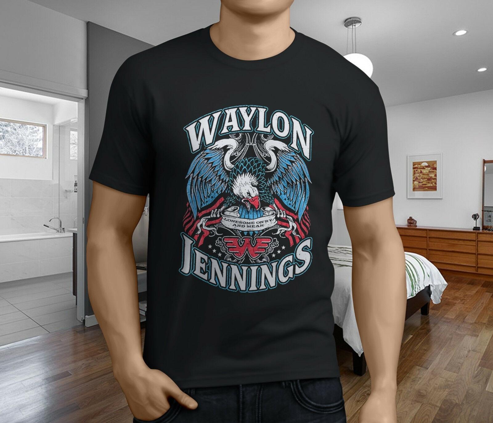 Nueva y Popular camiseta negra para hombre WAYLON jenns LONESOME SINGER MUSIC BAND S-3XL