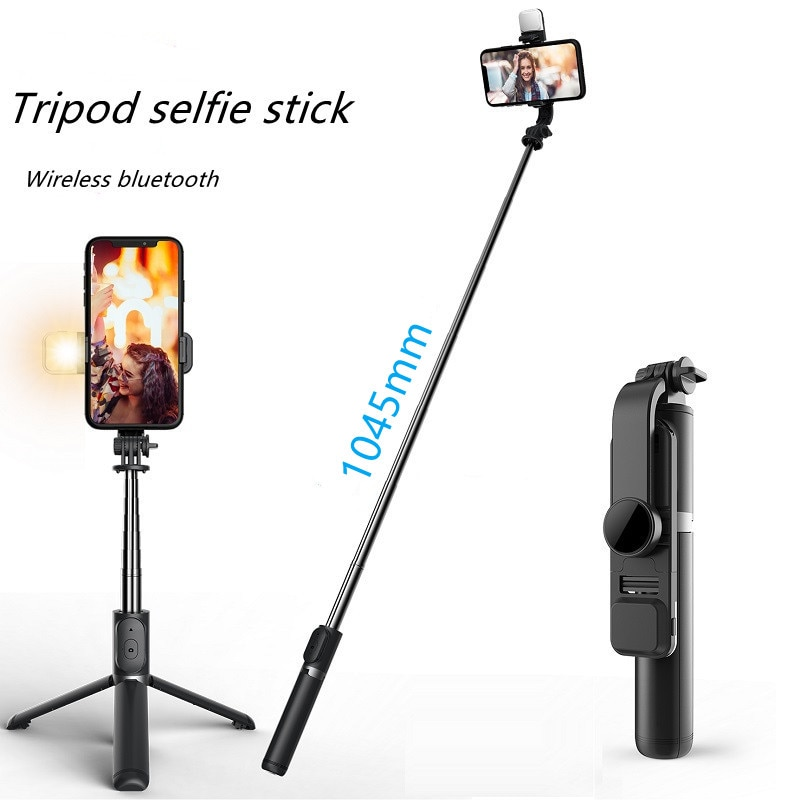 Wireless bluetooth selfie stick foldable mini tripod with fill light shutter remote control selfie stick for IOS Android