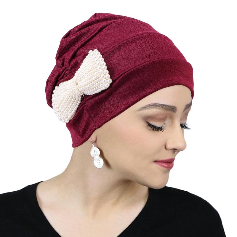 Turban musulman avec nœud en perles pour femmes, couverture complète, blanc, Hijab, chimio