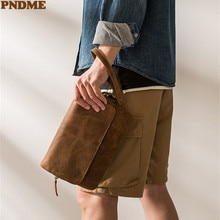 PNDME simple retro genuine leather men's large-capacity clutch bag business daily work natural real