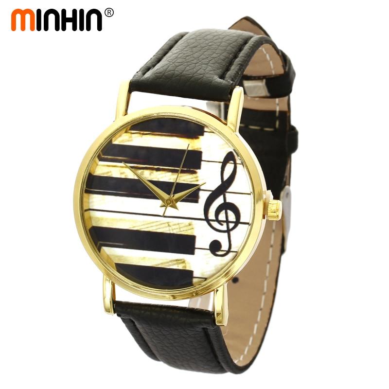 Relojes de cuarzo de moda para mujeres MINHIN, relojes de pulsera de cuarzo chapados en oro Cuero clásico chicas jóvenes, reloj de pulsera analógico de cuarzo