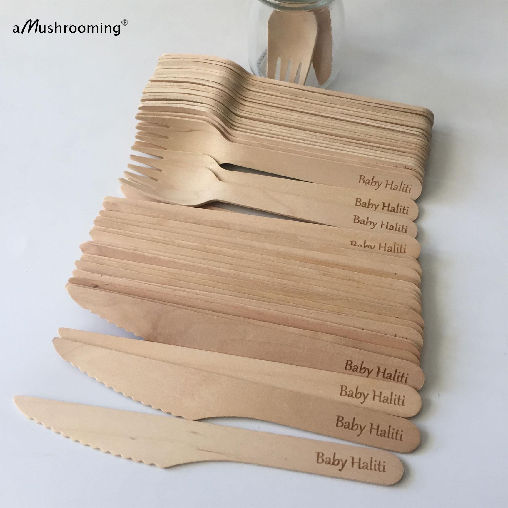 Große Einweg Besteck Personalisierte Name 25 Holz Gabeln Messer Angepasst Besteck   Erde Freundliche   Baby Geburtstag Kinder party