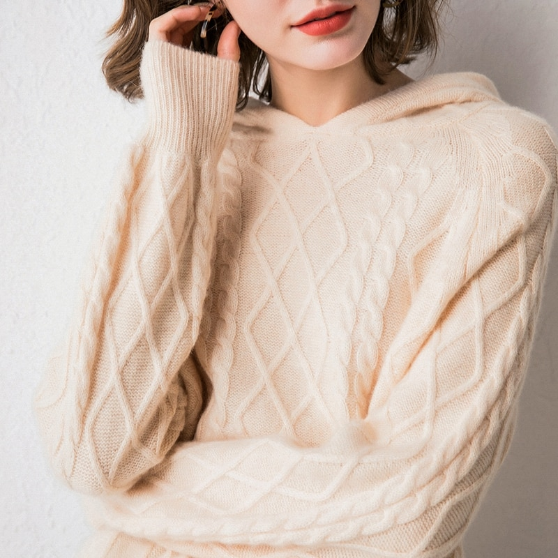 2020 new autumn and winter cashmere sweater for women to wear 100 pure wool hooded Pullover Sweater enlarge