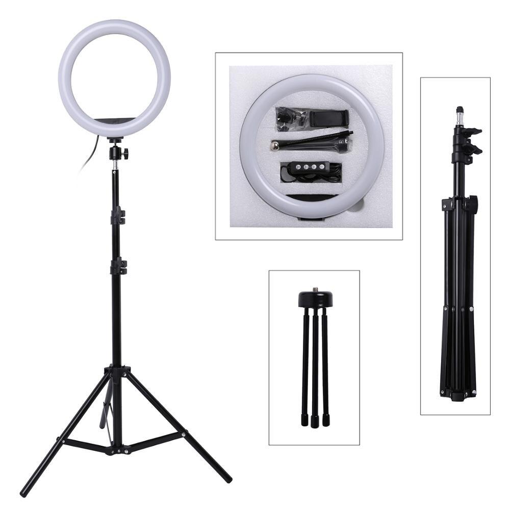 Foto FÜHRTE Selfie Stick Ring Füllen Licht 10inch Dimmbare Kamera Telefon Ring Lampe Mit Stand Stativ Für Make-Up Video live-Studio