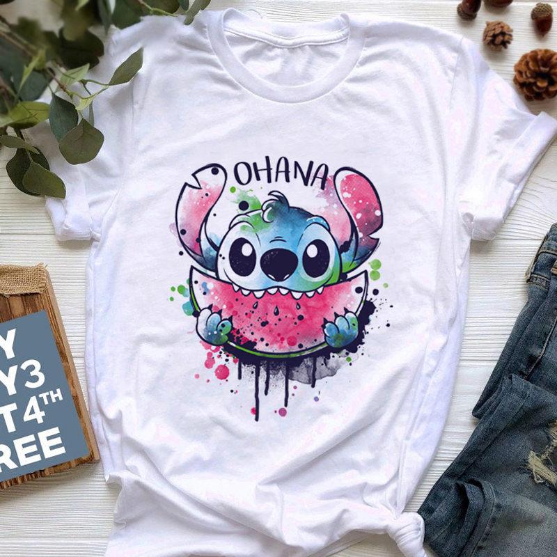 2020 Harajuku Ullzang Kawaii camiseta mujer Stitch Linda camiseta 90s divertida camiseta estilo coreano Top Camisetas Mujer
