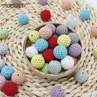 tyry hu 5pcs 1620mm crochet round wooden beads handmade ball can chew diy pacifier chains teething bracelet beads