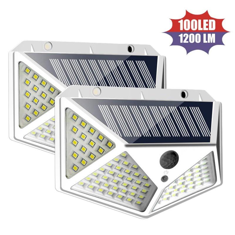 4 Pieces 100 LED Solar light Bulb Wall Light PIR Motion Sensor Waterproof Outdoor Lighting Garden Lamp Decoration Porch Lights