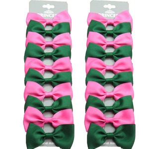 20PCS/Lot Green and Dark Pink With Hairpins Grosgrain Ribbon Bows Clips 2020 Korean Creativity Hair Accessories For Baby Girls