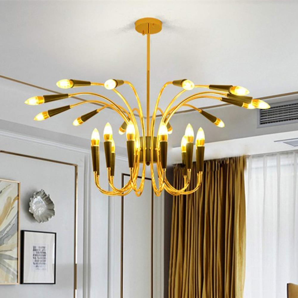 Lámparas de techo modernas Sputnik 24 luces LED de oro de mediados de siglo lámparas de níquel cepillado Vintage para la lámpara de la sala de estar