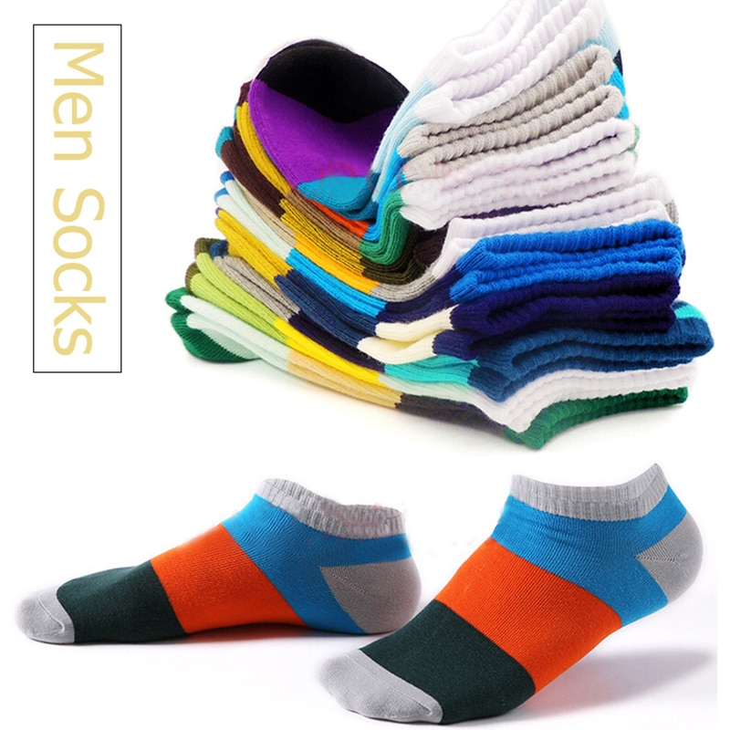 New Men Socks Casual Thin Section Breathable Stripe Mens Boat Cotton Ankle Sports Wild Shallow Mouth