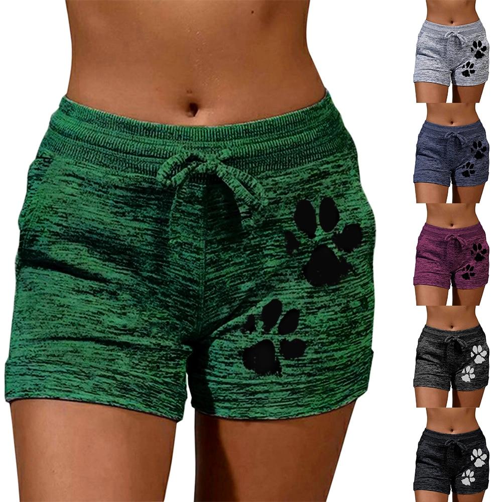 New Summer Drawstring Paw Print Shorts Female Elastic High Waist Loose Shorts Women Fashion Soft Beach Casual Sport Short
